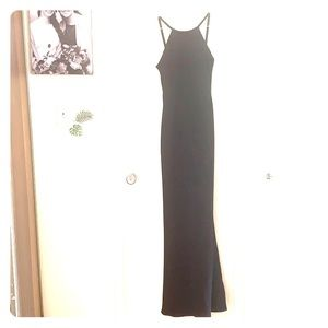 Black floor length backless evening gown